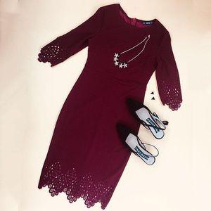 Dresses - Elegant Scallop Hem Laser Cut Pencil Dress